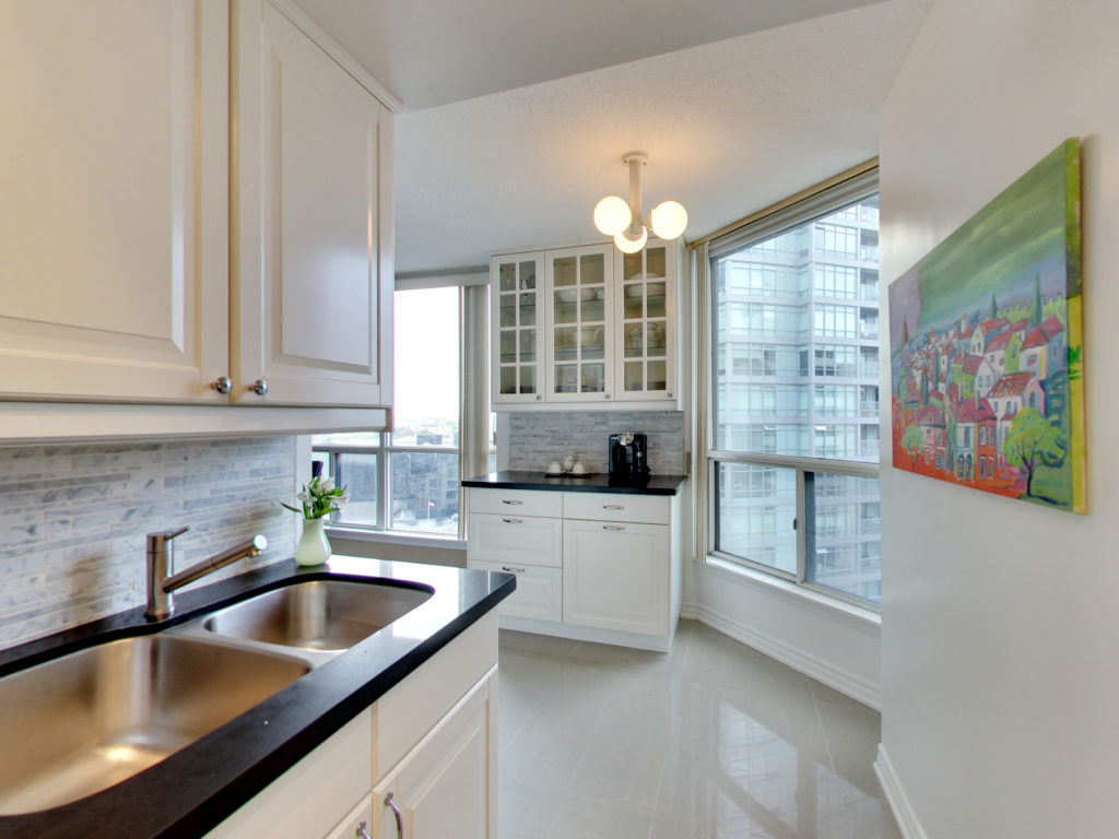 The newly updated kitchen offers a light, airy feel.